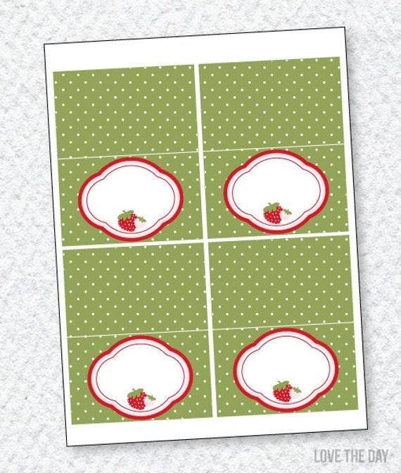 Strawberry Party PRINTABLE  Blank Tent Cards (INSTANT DOWNLOADS) by Love The Day