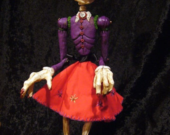Large Day of the Dead Lady Skeleton Marionette (Made-to-Order)
