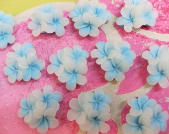 7x 25mm Opaque and Blue Blossom Flower Resin Cabochons Vintage Style