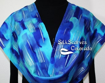Silk Scarf Handpainted. Blue, Turquoise Hand Painted Shawl. Handmade Silk Scarf RAINY DAY. Size 11x60 Anniversary, Mother Gift. Gift-Wrapped