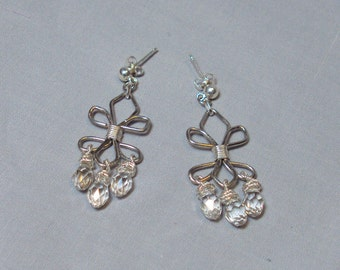 silver crystal wire wrapped fleur de lis flourish dangle earrings