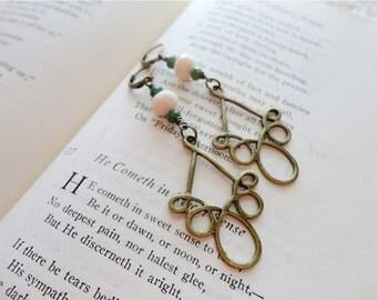 Long antique bronze loop the loop and glass beaded earrings, Feeling Loopy