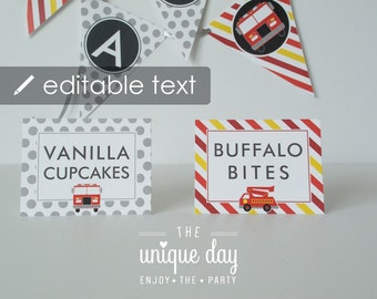 Firetruck Food Labels - EDITABLE & PRINTABLE Food Labels -  Firetruck birthday party - Instant Download // FIR- 03