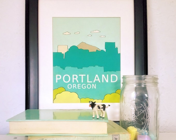 Urban Loft Chic Home Room Decor or Nursery Art for Kids // Portland Oregon// Modern Travel City Skyline Typography Poster