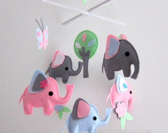 """Baby Crib Mobile - Baby Mobile - PInk Baby Girl Lovely Mobile - """"Five Little Elephants"""" (Pick your color)"""