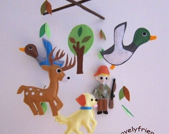 "Baby Crib Mobile - Baby Mobile - ""Little hunter and dog"" Mobile (Pick your color) - Crib Mobile"