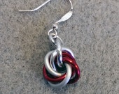 Red and White Candy Cane Mobius Ball Chainmaille Earrings