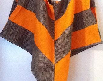 Plaid Wool and Orange Linen poncho Blouse Geometric patchwork
