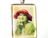 Glass Tile Pendant -Vintage Woman With Kitten