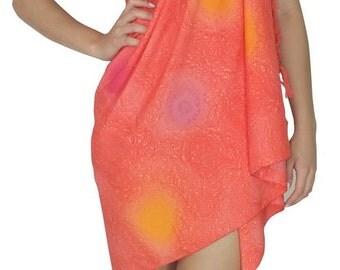 La Leela Coral Peach Swimsuit Beachwear Hawaiian Sarong Skirt Dress Women Vintage Pareo Swim Cover up-119738