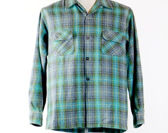 mens wool flannel, long sleeve shirt, 50s tartan plaid,  vintage Penney's Towncraft Plus, button front, size large L 16 - 16.5