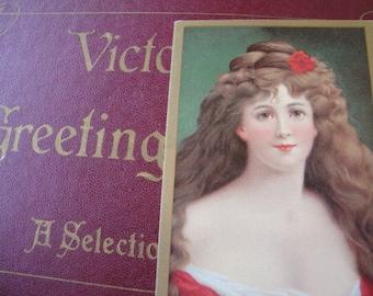 Antique Style Postcard Greeting Card Woman's Portrait Renaissance Victorian Woman Paper Ephemera Antique Dress Antique Portrait Card 131