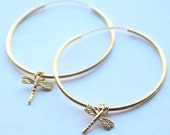 FREE SHIPPING- gold plated hoops- dragonfly hoops- nature - woodland hoops- earrings for her- gold plated on sterling silver hoops