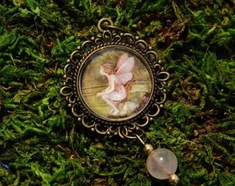 Victorian Fairy Illustration Pendant in Antique Brass with Rose Quartz