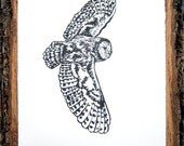 Flying Barn Owl Print - Black and White Relief Print - Limited Edition - Feathered Flash
