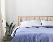 Windsor Bed - Solid White Oak - Slanted Headboard - Customizable - Available in other woods