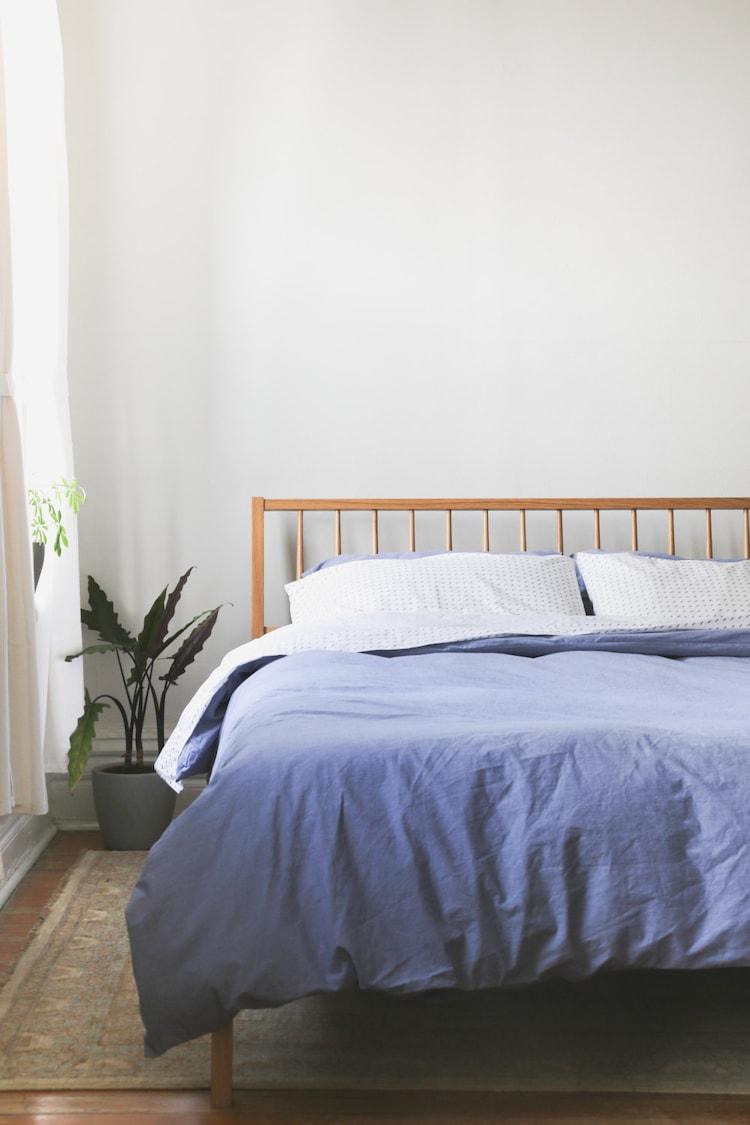 Windsor Bed Solid White Oak Slanted Headboard By Hedgehouse