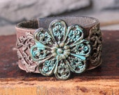 "Upcycled Leather Cuff ""Forgotten Garden"" - Bohemian Recycled Repurposed Vintage Leather, Eco Chic, Verdigris Flower, Turquoise Boho Bracelet"