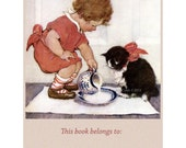 Girl with Kitten Bookplates - Pack of Ten - Jessie Willcox Smith Repro