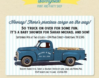 Pickup Truck Retro Baby Shower Invitation, Baby Boy Printable Baby Shower Invite, vintage style in red or blue