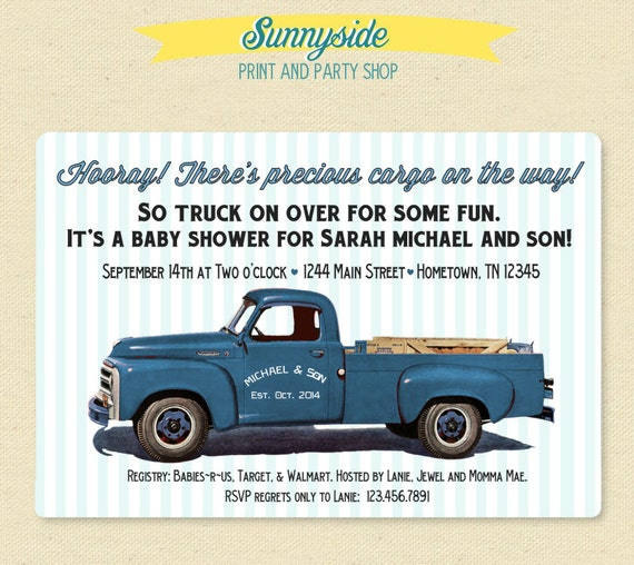 Pickup truck retro baby shower invitation baby boy printable baby il570xn filmwisefo