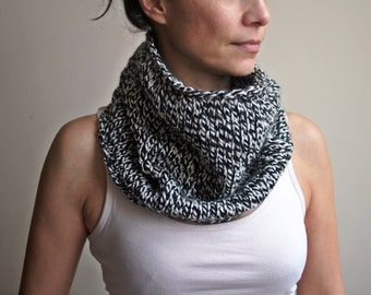 Knitted cowl, handmade neckwarmer,  knit loop scarf, man, women, black, white, mens scarf