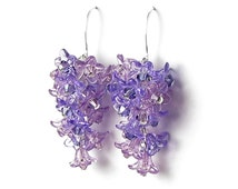 Lilac Flower Earrings, Purple Swarovski Crystal Cascading Lilac Clusters, Silver Earrings, Spring Lilac Jewelry, Romantic Lilac Wedding Gift