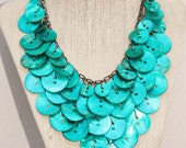 SALE,Beach Beauty,Teal Peacock Blue Bib-Style Statement Button Necklace,Dangling,Beach Wedding,Aqua,Repurposed Shell Button Necklace,OOAK