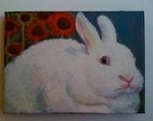 Bunny Painting,Animal Painting, Rabbit Portrait Oil Painting, Nursery Wall Art Little Girls Art, Little Boys Art,Children, White Rabbit,Kids