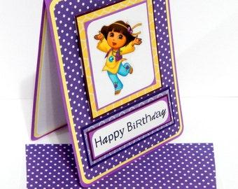 Dora Inspired Birthday Card with Matching Embellished Envelope