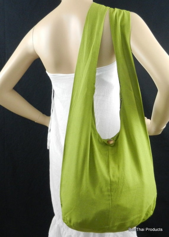 Cotton Bag Purse Crossbody Messenger Sling Thai Monk Buddha Hobo Hippie Medium in  Lime Green or more to choose from
