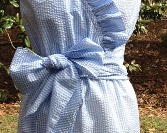 plus size women seersucker dress lined ruffle Aly