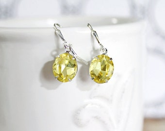 Yellow Earrings, Vintage 50's Citrine Yellow Crystal Jewels, Petite Yellow Rhinestone Earrings Wedding Anniversary Gift Idea Bridal Gift