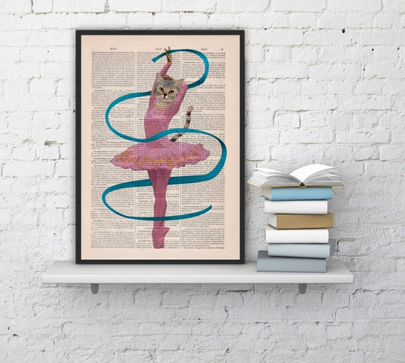 Spring Sale Funny ART Ballerina cat  Wall decor, Unique Gift Cat book print Cute Kitty Cat giclee BPAN063b