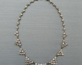 Art Deco Geometrical Open Back Crystal Collar Necklace