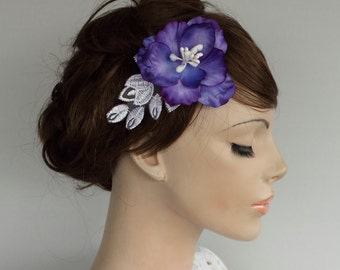 Bridal Purple Hair Flower, Bridal Flower Hairpiece, Spring Wedding Head Piece Fascinator Bridal Flower Hairpiece