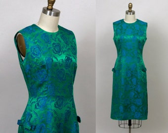 1960's emerald garden cocktail dress