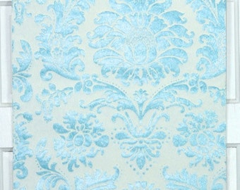 Retro Flock Wallpaper by the Yard 70s Vintage Flock Wallpaper - 1970s White Flock and Blue Marble Damask