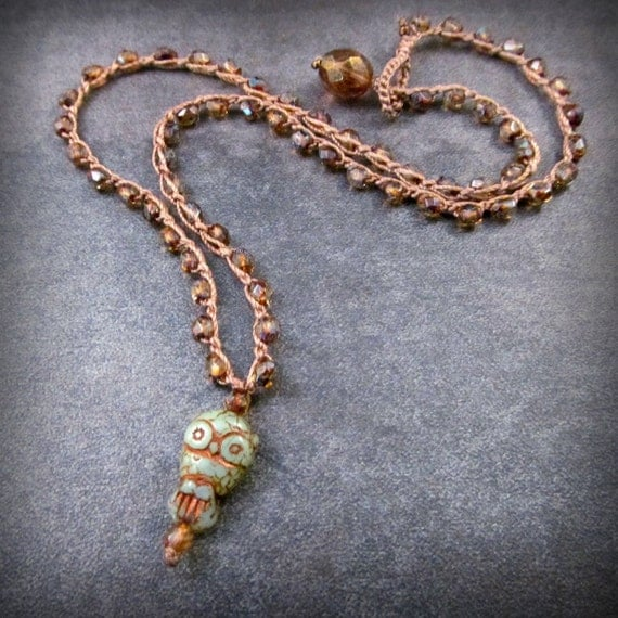 Boho Crochet Necklace with Owl Pendant Bead, Hippie Chic and Earthy, Owl Jewelry