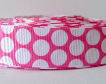 Pink 22mm Polka Dot Grosgrain Ribbon