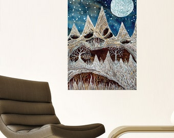 The Secret of Moon Peak Decal - Astronomy Wall Art by Elise Mahan