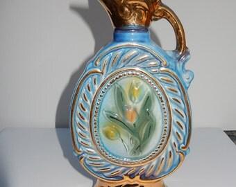 JiM BEAM 1973 Whiskey bottle-Yellow Tulips/swirls/Gold Gilt decanter/Ceramic barware regal china/man cave decor/collectible Jim Beam