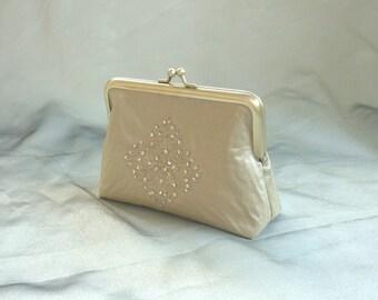 Gold clutch, silk purse, wedding clutch, sequins, formal accessory, bridesmaid gift, evening bag, bridal purse, golden glamour diamond