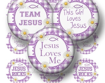 CHRISTIAN, JESUS, Bottle Cap Images, Digital Collage Sheet, Violet Gingham, Religious, 1 Inch Circle, Inspirational, Sunday School, No.5