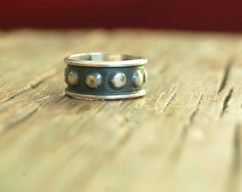 Sterling Silver Dotted Ring Band Size 5 .75 Vintage Mexican Sterling Silver Cigar Band