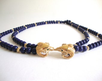 Kenneth Lane Necklace: Navy and Gold vintage KJL beaded ram necklace