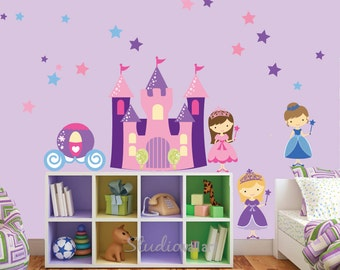 Castle Wall Decal with Princess REUSABLE Fabric Wall Decal - 505