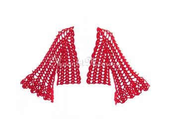Metallic Shrug Crocheted Bolero size L Sweater Flared Bell Sleeves cream white gray