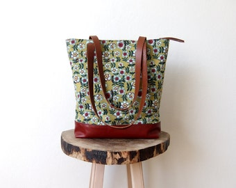Canvas Tote Bag - Red Leather Base - Colorful Floral Canvas  - Brown Leather Handles - Zippered Tote