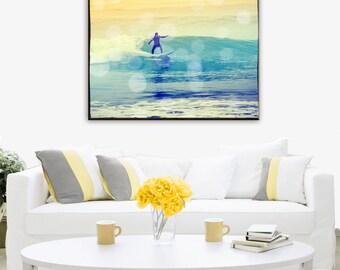 Surfing Photography, Surfing Canvas Wall Art, Retro Surfer Art, Beach Canvas Art, Vintage Surf Art, Large Canvas Wall Art
